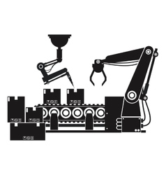 Silhouette packing box automated robotic vector