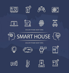Smart house line icons collection vector
