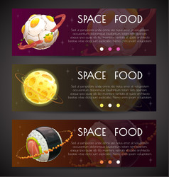 Space horizontal banners commercial fliers with vector