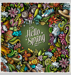 Spring hand drawn doodles vector