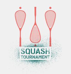 Squash tournament stencil spray style poster vector
