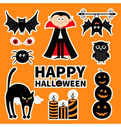 Sticker patch badge set Count Dracula monster vector
