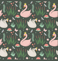 swans cute seamless pattern modern princess swan vector image