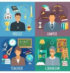 Teacher lawyer librarian and priest symbols vector