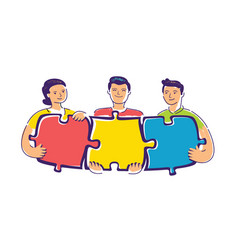 teamwork people that collect a puzzle vector image
