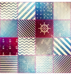 The patchwork in nautical style vector image