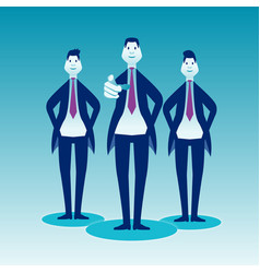 Three businessmen stand on a blue background front vector