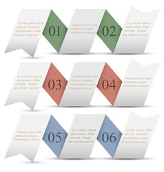 Three origami paper numbered banners vector image