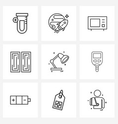 Universal symbols 9 modern line icons light vector