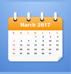 usa calendar march for 2017 vector image
