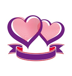 Valentines day conceptual two loving hearts vector