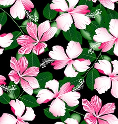 Variegated pink tropical hibiscus flowers seamless vector