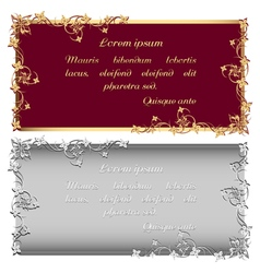 Vintage gold and silver frames for inscription vector image