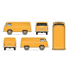 Vintage yellow minivan mockup vector