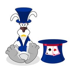 White rabbit in blue hat bunny in waistcoat vector image