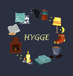With hygge cozy home things vector