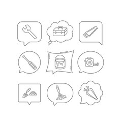 wrench key screwdriver and paint brush icons vector image