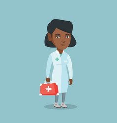 young african doctor holding a first aid box vector image