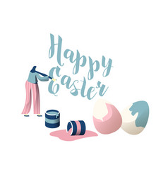 Young female character decorate happy easter vector