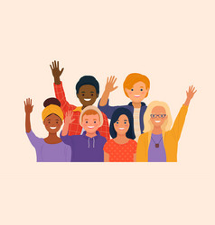 Young friends waving with raised hands vector