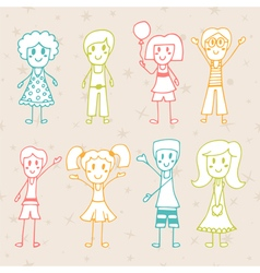 Collection of happy children Hand drawn cartoon vector image vector image