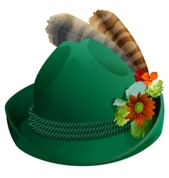 Green hat with feathers for Oktoberfest vector image