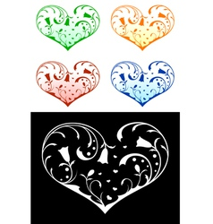 hearts with floral decorations vector image vector image