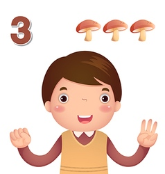 Learn number and counting number three vector image vector image