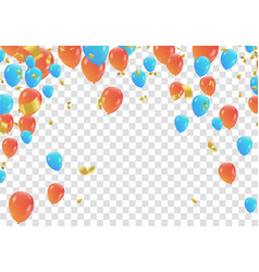 orange and blue balloons and confetti party vector image