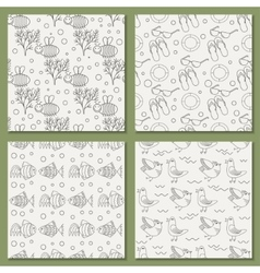 set of seamless patterns for the summer vector image vector image