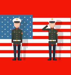 american military veteran ceremonial dress stands vector image