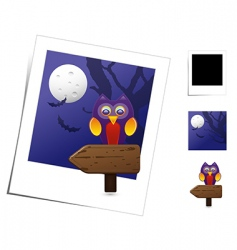 animal scene Halloween owl vector image vector image