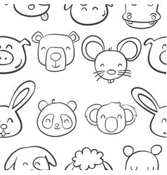 collection stock of animal head cute style vector image vector image