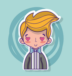 groom lover with suit and hairstyle design vector image