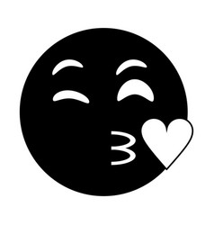 kiss love emoticon funny pictogram vector image vector image