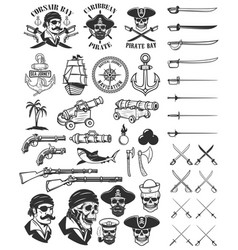 Pirates design elements corsair skulls weapon vector