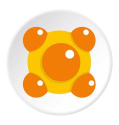 yellow and orange molecules icon circle vector image