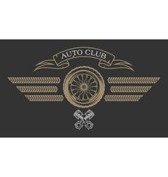 Auto Club emblem in vintage style vector image vector image