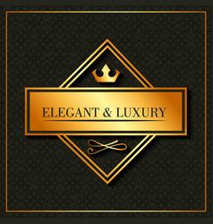 golden elegant and luxury banner crown emblem vector image