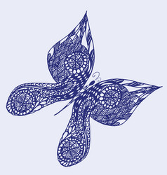 Hand drawn sketch style butterfly retro hand vector