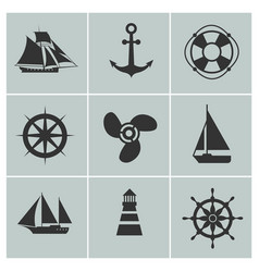 marine and shipping icons boat ship or yacht vector image vector image