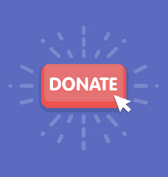 modern donate button design with mouse click vector image
