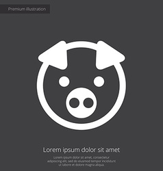Pig premium icon white on dark background vector