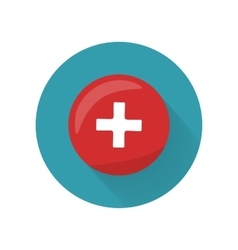 Red Cross Icon on Button First Medical Aid Sign vector image