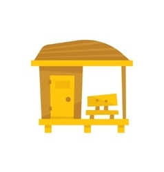 Small Wooden Beach Cabin With Bench vector image