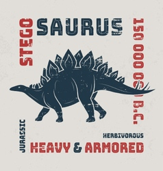 Stegosaurus t-shirt design print typography label vector