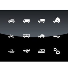 Cars and Transport icons on black background vector image