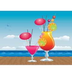 Cocktail on wood table3 vector image