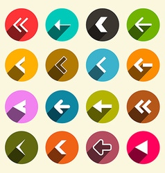 Colorful Flat Design Simple Arrows Set in Circles vector image vector image