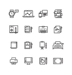 creative science writing tools line icons set vector image vector image